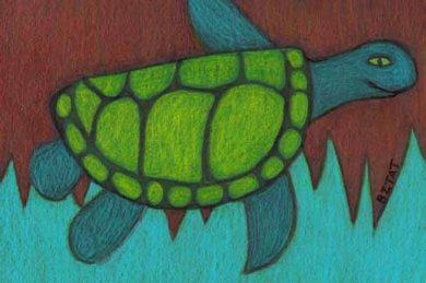 Sea turtle drawing by animal artist BZTAT