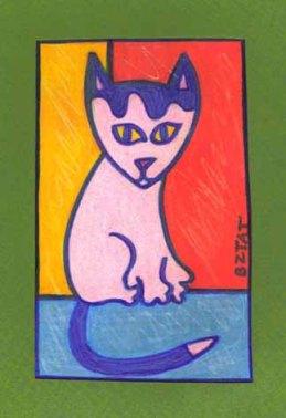 Okey white cat drawing