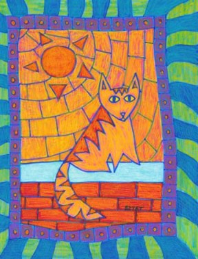 Orange cat drawing