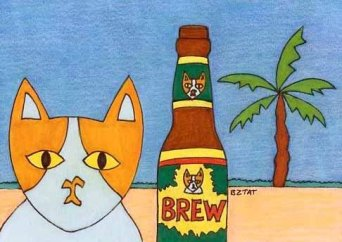 Drawing of cat character Brewskie Butt on the beach with a beer