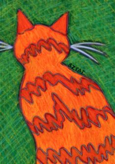 Orange cat drawing by BZTAT