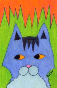 Blue gray tabby cat drawing by BZTAT