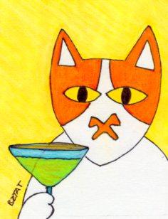 Brewskie Butt the cat drinking a meowgarita