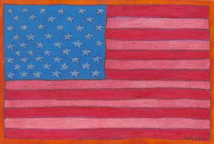 """American Flag"" Drawing by BZTAT"