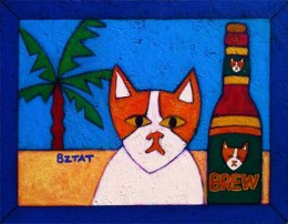 Brewskie Butt cat on the beach with a beer painting by BZTAT