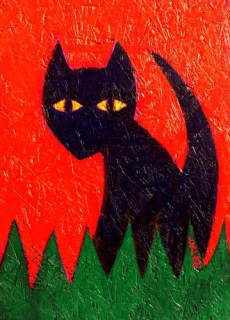 Black cat Halloween painting BZTAT