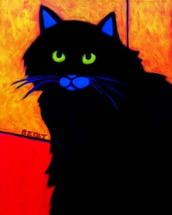 Black cat pet portrait painting BZTAT