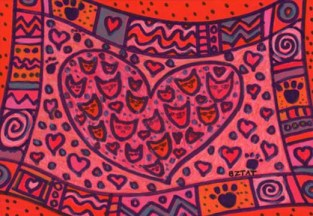 Feline Valentine Cats and hearts drawing by BZTAT