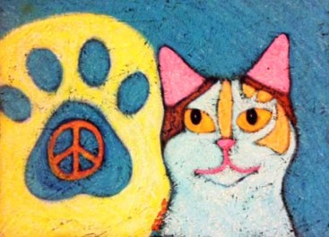 Calico Hippie Peace Cat painting by BZTAT