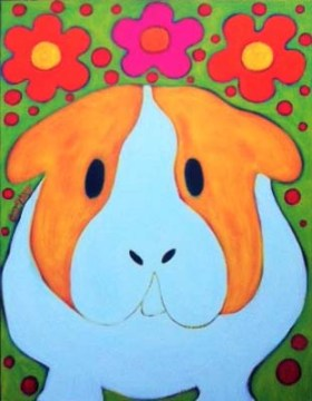 Guinea Pig Hippie Peace Pig Painting by BZTAT