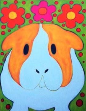 Guinea Pig Hippie Peace Pig Painting by BZTAT