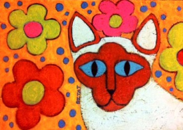 Siamese Hippie Peace Cat painting by BZTAT