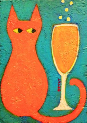 """Cat Tail Coctail"" painting by BZTAT"