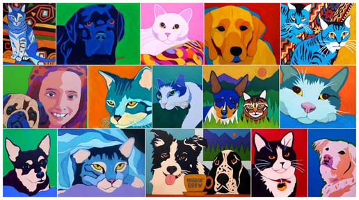 Custom Pet Portrait Dog and Cat Paintings by Artist BZTAT