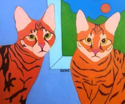 Savannah cats custom pet portrait painting BZTAT