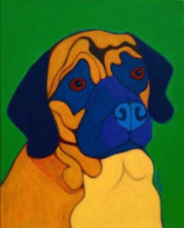 Custom Dog Portrait painting of a Puggle