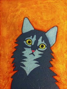 Tabby Cat portrait painting work in progress