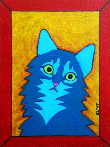 Gray Maine Coon Cat Contemporary Folk Art Portrait Painting BZTAT