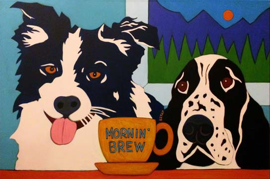 Border Collie and Springer Spainiel contemporary pet portrait painting by Artist BZTAT