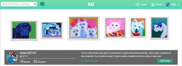Artist BZTAT's Tsu Social network page