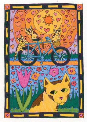 Cats on Bicycle Coloring Book Drawing  by BZTAT