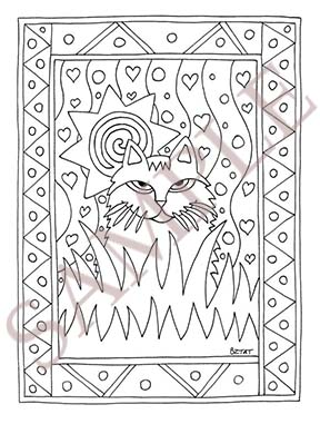 Artist BZTAT's Color Me Cats Adult Coloring Book page sample