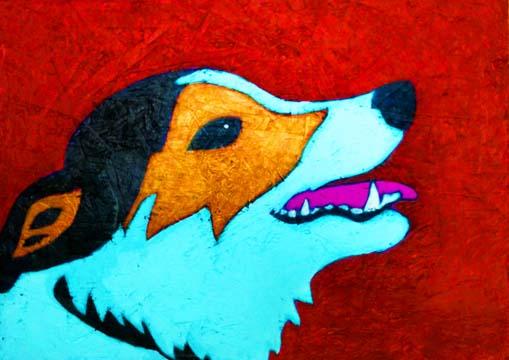 Custom Contemporary Folk Art Pet Portrait Painting by Animal Artist BZTAT