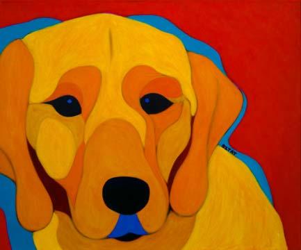 Custom Pet Portrait Painting of a golden Labrador Retriever