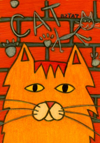 25, Alley Cat Drawing Card (Blank Inside)