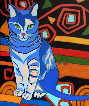 Dilute Tortoise Shell Cat Portrait Painting with patterns by Artist BZTAT