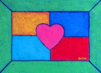 heart rainbow painting by Artist BZTAT