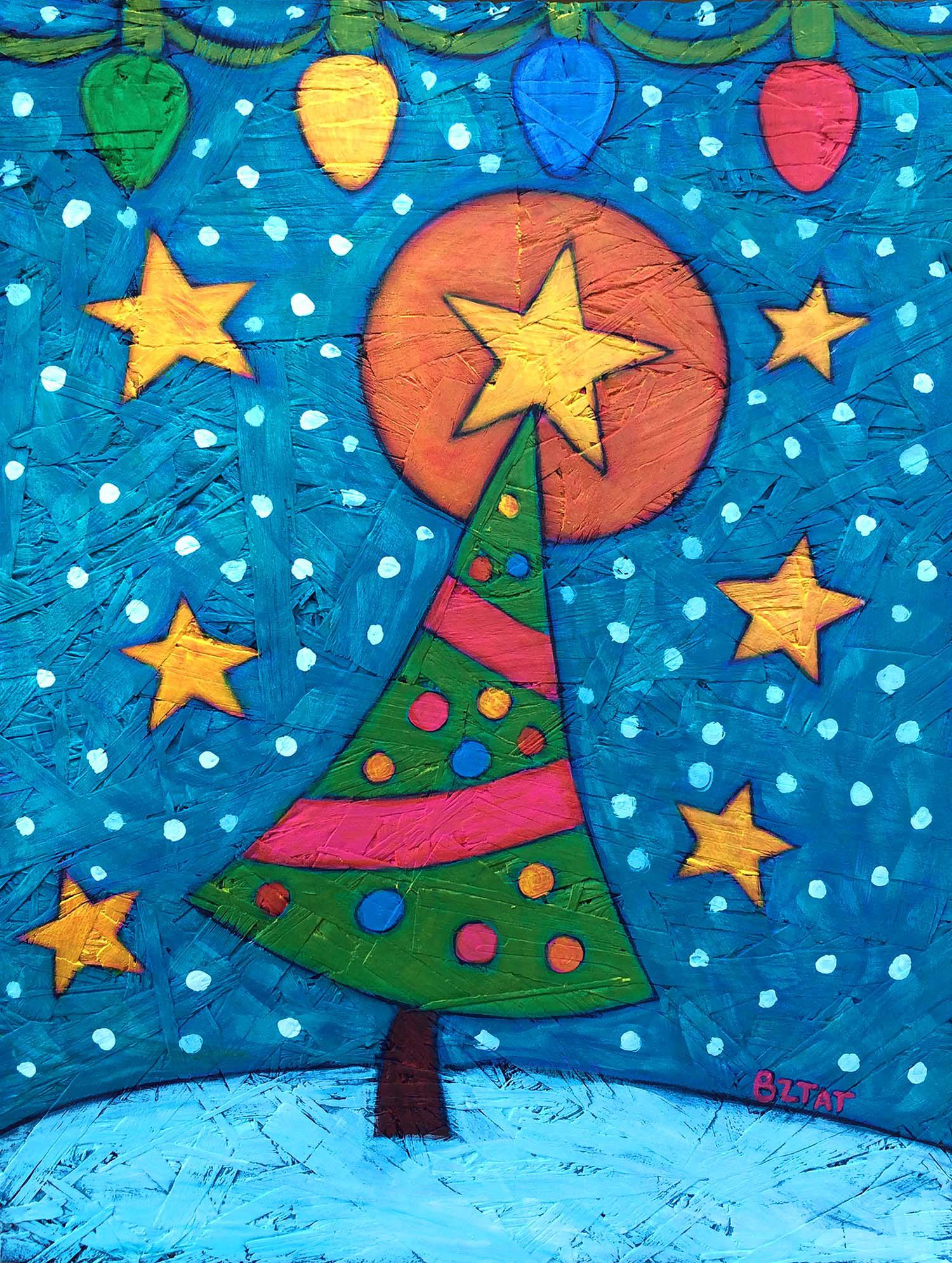 Christmas tree contemporary folk art painting by BZTAT