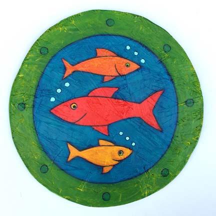 Porthole Fish Painting Contemporary Folk Art by BZTAT