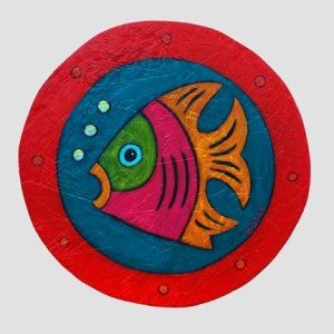 Porthole Fish Painting Contemporary Folk Art by BZTAT