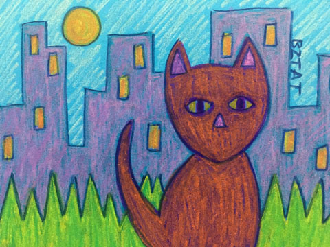 Cat in the City Drawing by BZTAT