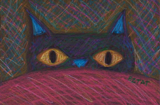 """""""Wake Up. Now"""" Whimsical Black Cat Drawing by Artist BZTAT"""