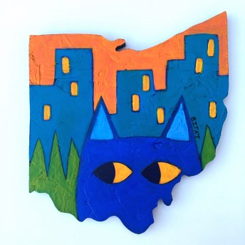 """Meow-hio"" Cat Painting in the shape of Ohio by BZTAT"