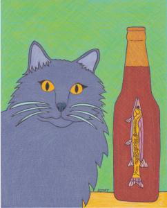 Cat drawing with Muskellunge Beer