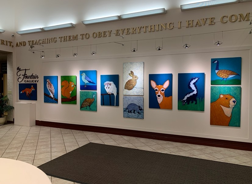 Urban Wildlife painting exhibit at Malone University by artist BZTAT