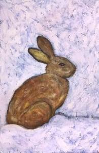 Eastern Cottontail Rabbit bunny urban wildlife painting contemporary pop art BZTAT