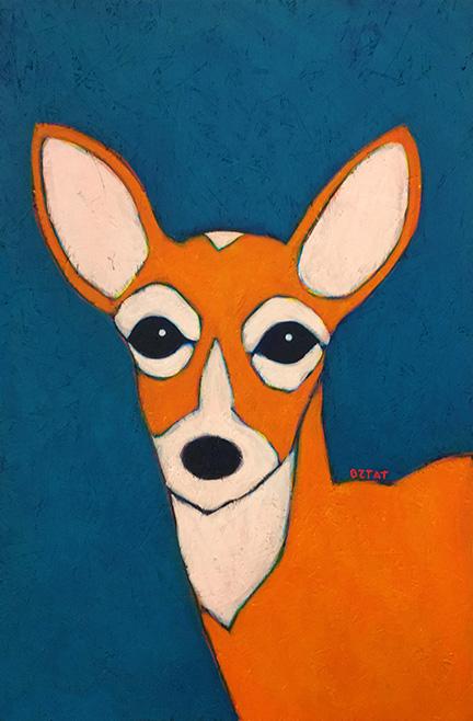 Whitetail Deer urban wildlife painting contemporary pop art BZTAT