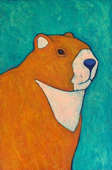 Groundhog urban wildlife painting contemporary pop art BZTAT