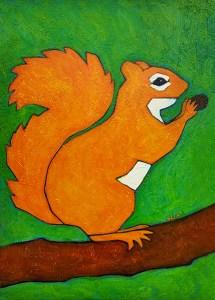 Squirrel urban wildlife painting contemporary pop art BZTAT