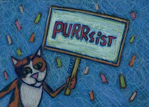 cat drawing nevertheless she persisted by Artist BZTAT