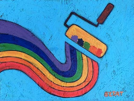 Rainbow Paint Roller Painting by BZTAT