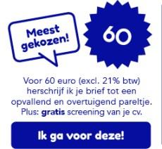 Herschrijven van motivatiebrief of sollicitatiebrief: 60 euro