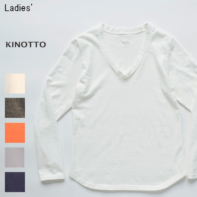 KINOTTO UネックTシャツ長袖 U-Neck T-Shirts 251C-01 (OFF WHITE)