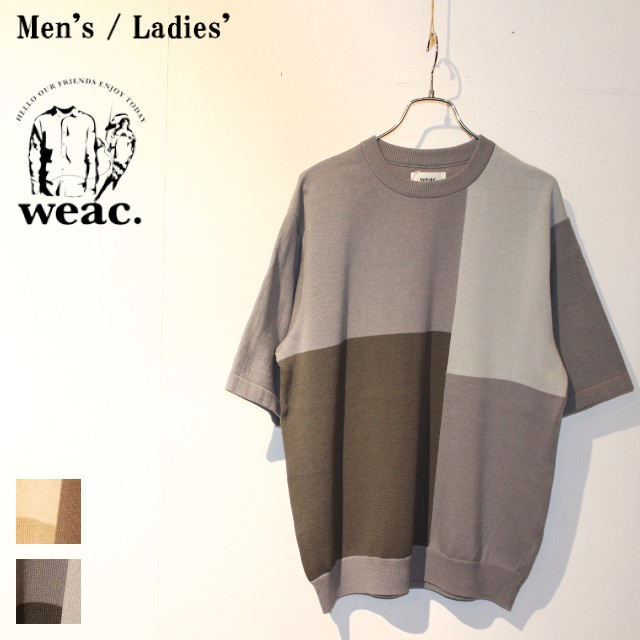weac. パッチワーク半袖ニット COLOR PATCH KNIT (GRAY)