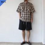HAVERSACK スタンドカラープルオーバーシャツ Beige Check