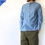 Soundman サウンドマン LivingstoneⅡ シャンブレーバンドカラーシャツ Indigo blue